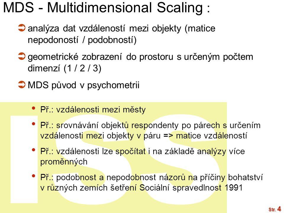 ISS Str. 4 MDS - Multidimensional Scaling :  analýza dat vzdáleností mezi objekty (matice nepodoností / podobností)  geometrické zobrazení do prosto