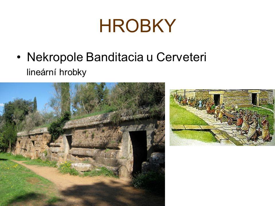 HROBKY Nekropole Banditacia u Cerveteri lineární hrobky