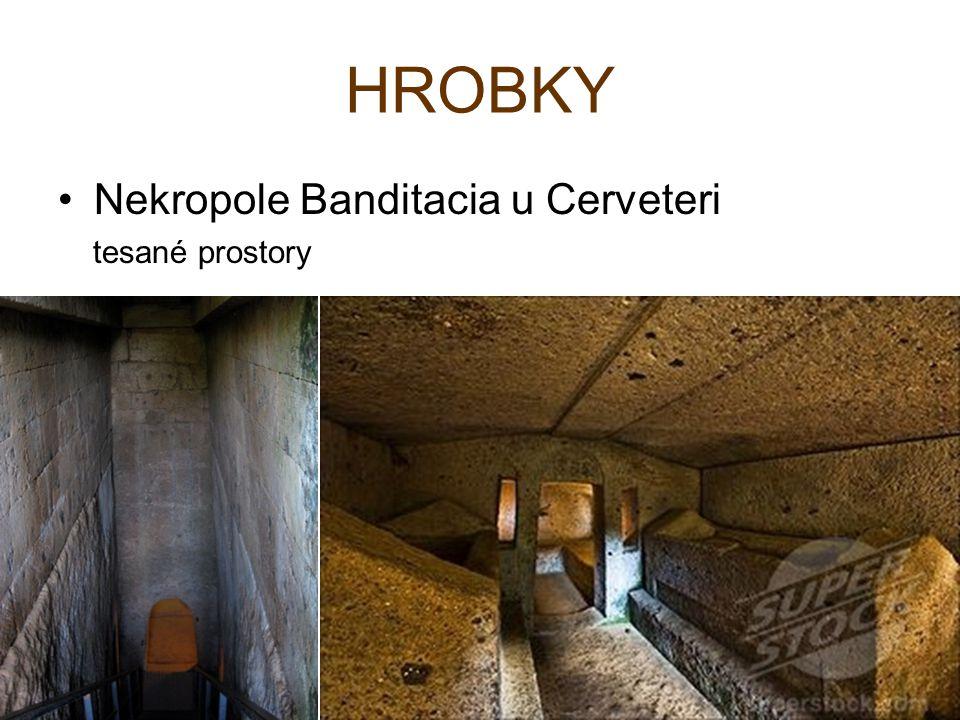 HROBKY Nekropole Banditacia u Cerveteri tesané prostory
