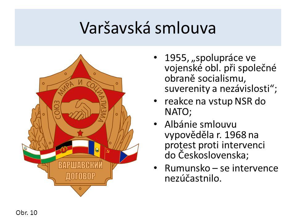 """Varšavská smlouva 1955, """"spolupráce ve vojenské obl. při společné obraně socialismu, suverenity a nezávislosti""""; reakce na vstup NSR do NATO; Albánie"""