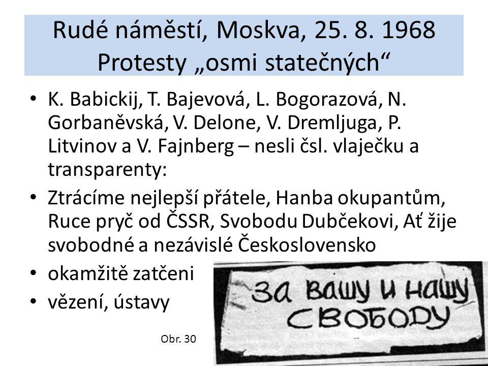 """Rudé náměstí, Moskva, 25. 8. 1968 Protesty """"osmi statečných"""" K. Babickij, T. Bajevová, L. Bogorazová, N. Gorbaněvská, V. Delone, V. Dremljuga, P. Litv"""
