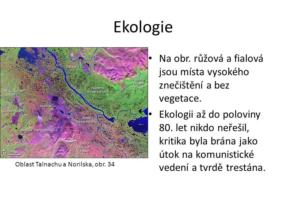 Ekologie Na obr. růžová a fialová jsou místa vysokého znečištění a bez vegetace. Ekologii až do poloviny 80. let nikdo neřešil, kritika byla brána jak