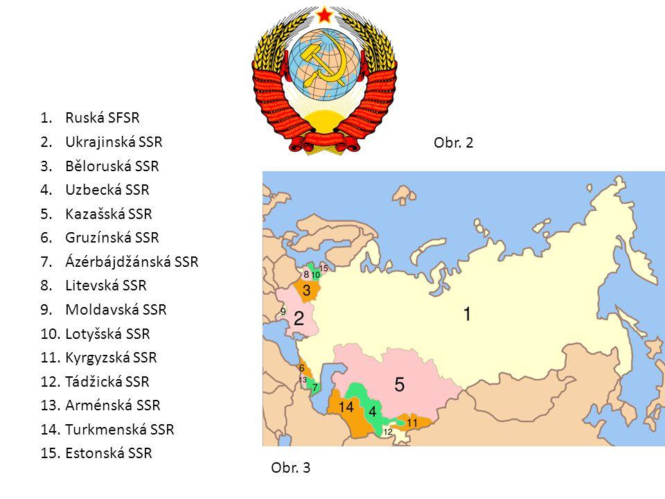 1.Ruská SFSR 2.Ukrajinská SSR 3.Běloruská SSR 4.Uzbecká SSR 5.Kazašská SSR 6.Gruzínská SSR 7.Ázérbájdžánská SSR 8.Litevská SSR 9.Moldavská SSR 10.Lotyšská SSR 11.Kyrgyzská SSR 12.Tádžická SSR 13.Arménská SSR 14.Turkmenská SSR 15.Estonská SSR Obr.