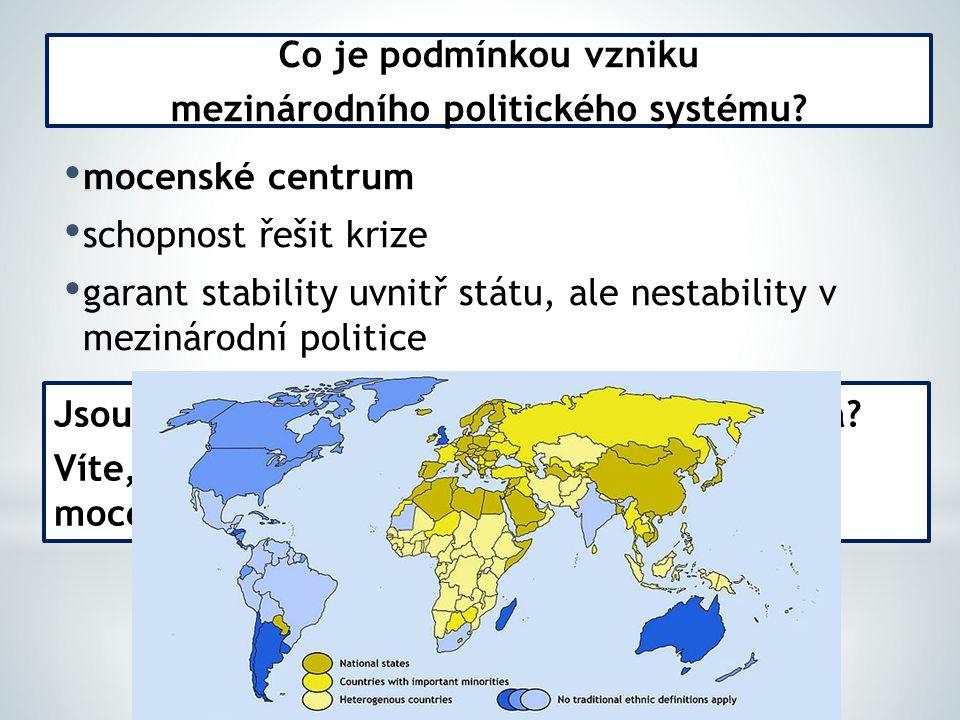 mocenské centrum schopnost řešit krize garant stability uvnitř státu, ale nestability v mezinárodní politice Co je podmínkou vzniku mezinárodního politického systému.