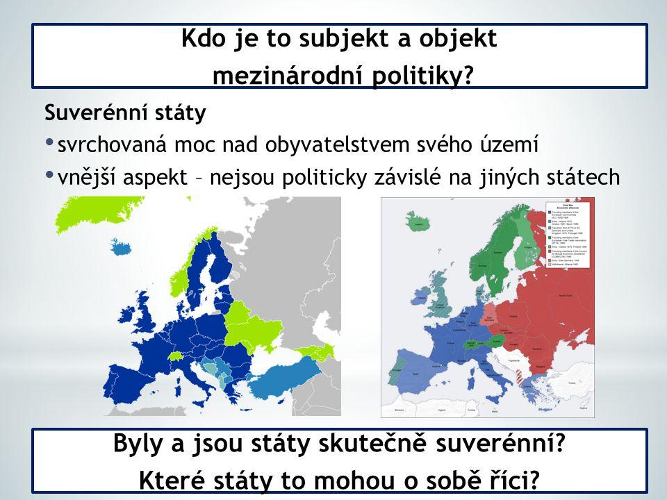Suverénní státy svrchovaná moc nad obyvatelstvem svého území vnější aspekt – nejsou politicky závislé na jiných státech Kdo je to subjekt a objekt mezinárodní politiky.