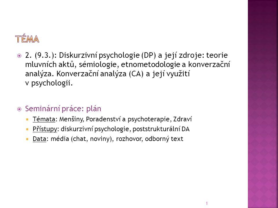  2. (9.3.): Diskurzivní psychologie (DP) a její zdroje: teorie mluvních aktů, sémiologie, etnometodologie a konverzační analýza. Konverzační analýza