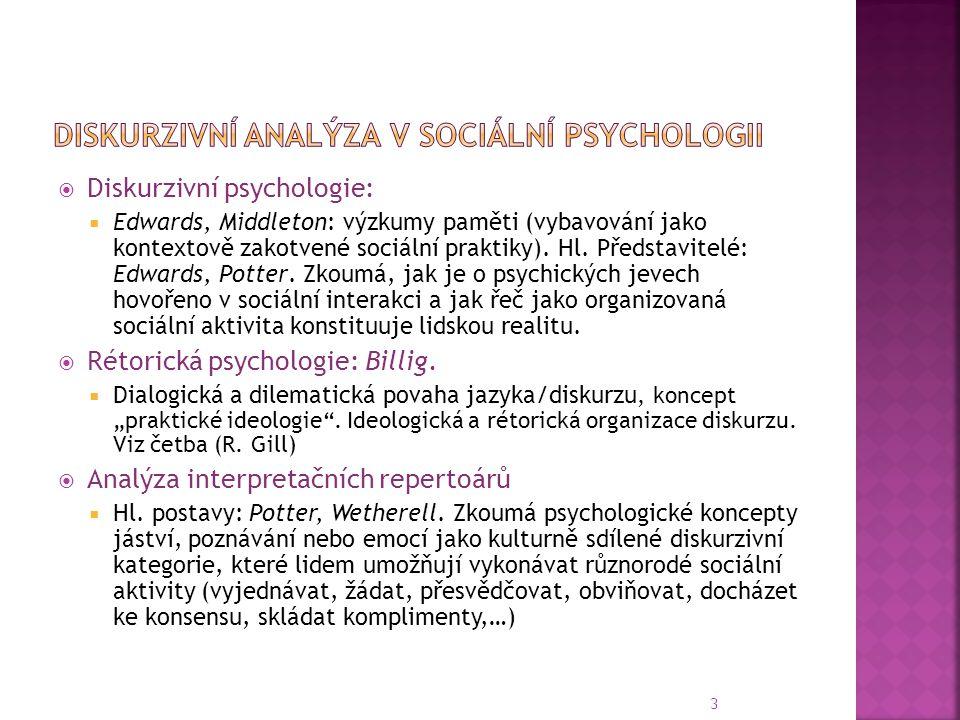  Diskurzivní psychologie:  Edwards, Middleton: výzkumy paměti (vybavování jako kontextově zakotvené sociální praktiky).