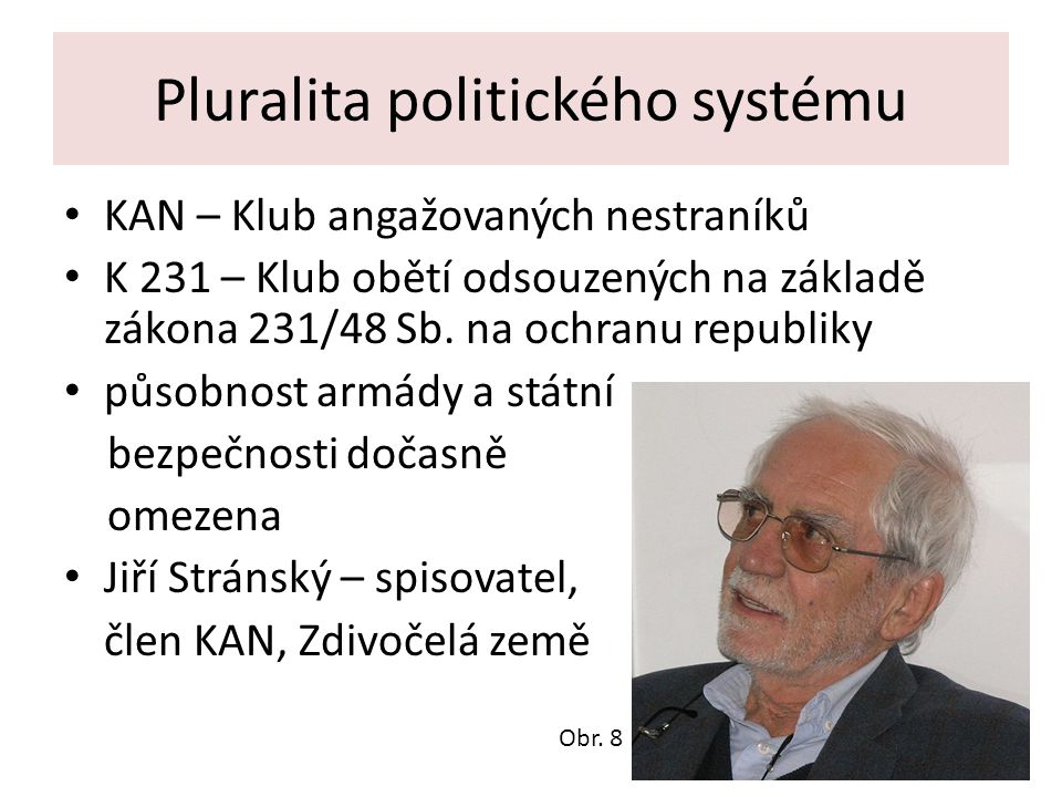 Pluralita politického systému KAN – Klub angažovaných nestraníků K 231 – Klub obětí odsouzených na základě zákona 231/48 Sb.