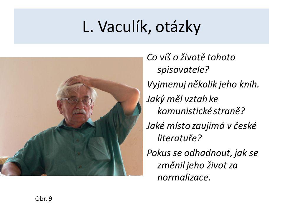 L.Vaculík, otázky Co víš o životě tohoto spisovatele.