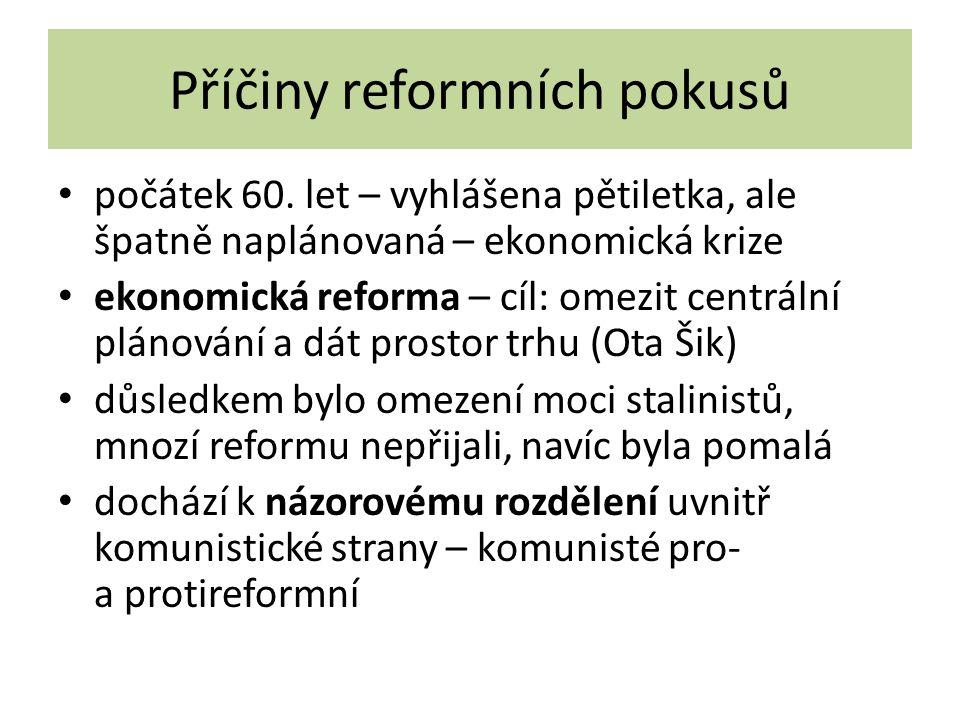 Příčiny reformních pokusů počátek 60.