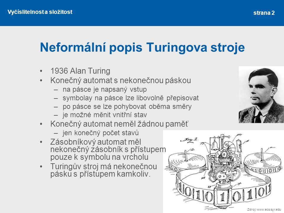Vyčíslitelnost a složitost Neformální popis Turingova stroje 1936 Alan Turing Konečný automat s nekonečnou páskou –na pásce je napsaný vstup –symbolay