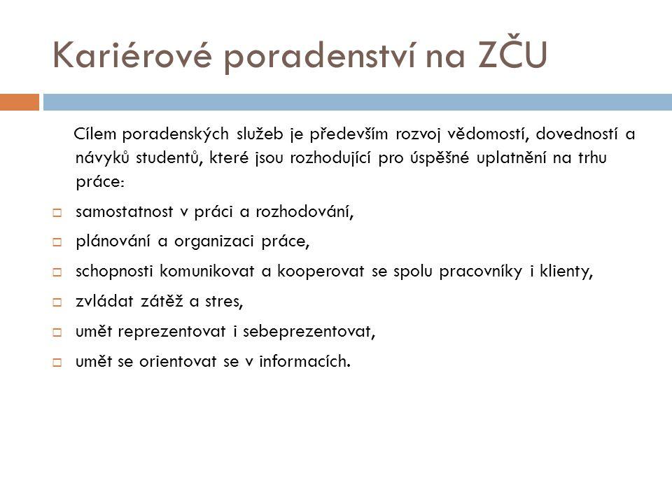Kariérové poradenství na ZČU Výzkumy potvrzují, že české vysoké školy připravují své absolventy výborně po odborné stránce, ale pro úspěch v zaměstnání jsou často důležitější tzv.