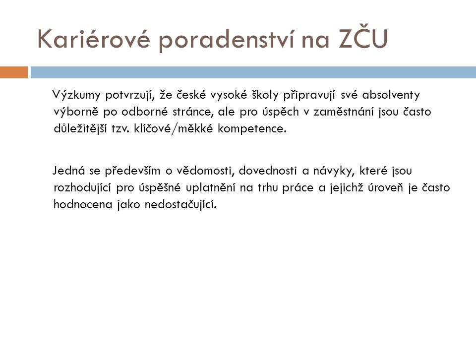 Kariérové poradenství na ZČU Výzkumy potvrzují, že české vysoké školy připravují své absolventy výborně po odborné stránce, ale pro úspěch v zaměstnán