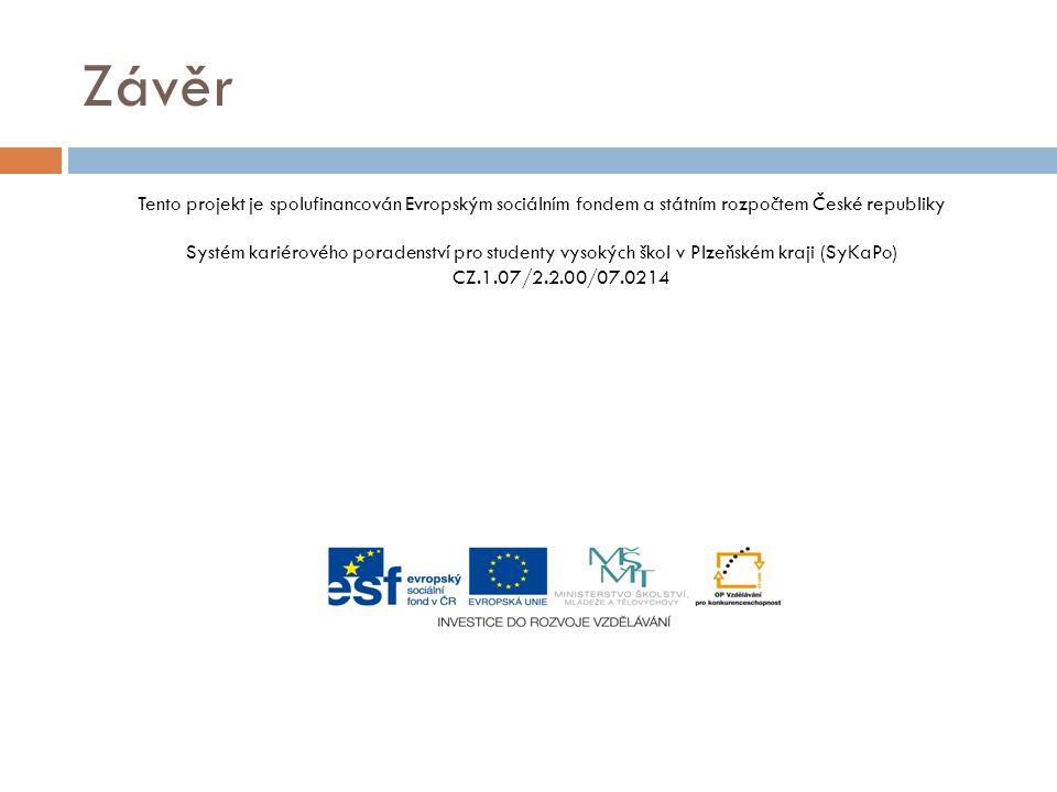 Závěr Tento projekt je spolufinancován Evropským sociálním fondem a státním rozpočtem České republiky Systém kariérového poradenství pro studenty vyso