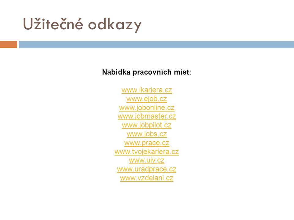 Užitečné odkazy Nabídka pracovních míst: www.ikariera.cz www.ejob.cz www.jobonline.cz www.jobmaster.cz www.jobpilot.cz www.jobs.cz www.prace.cz www.tvojekariera.cz www.uiv.cz www.uradprace.cz www.vzdelani.cz
