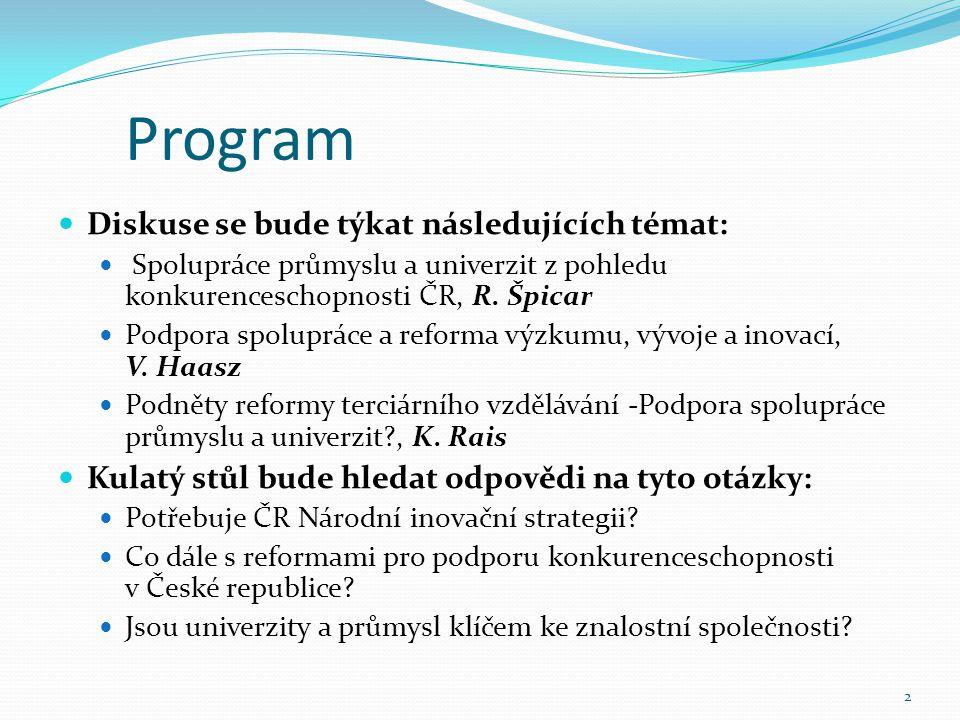 Program Diskuse se bude týkat následujících témat: Spolupráce průmyslu a univerzit z pohledu konkurenceschopnosti ČR, R.