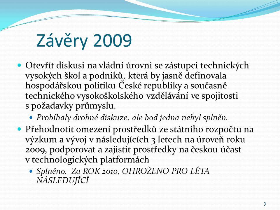 Závěry 2009 Otevřít diskusi na vládní úrovni se zástupci technických vysokých škol a podniků, která by jasně definovala hospodářskou politiku České republiky a současně technického vysokoškolského vzdělávání ve spojitosti s požadavky průmyslu.