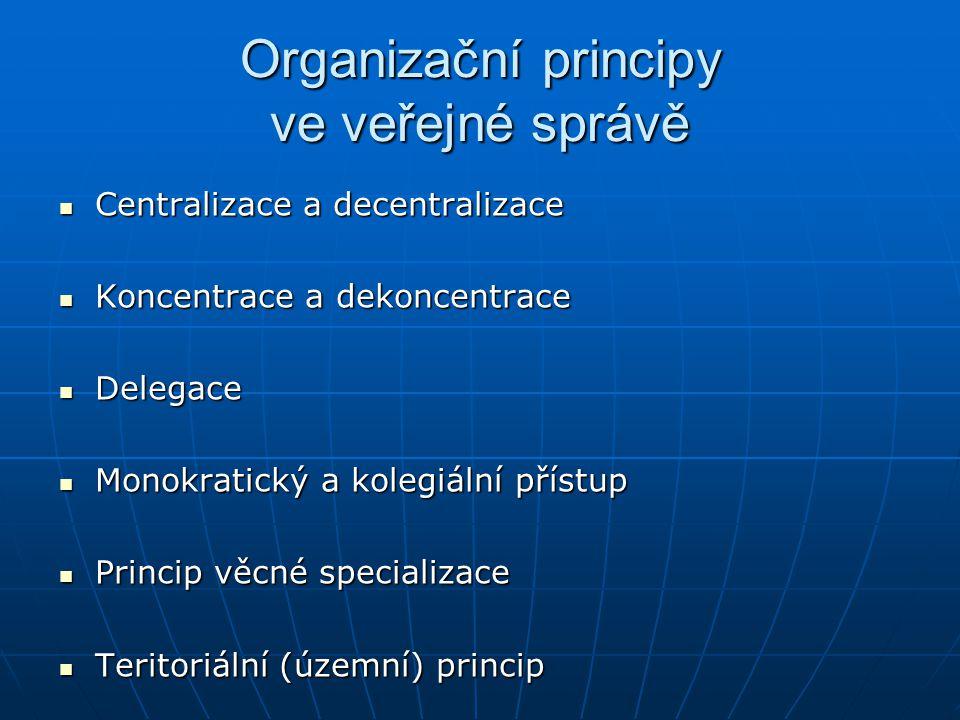 Organizační principy ve veřejné správě Centralizace a decentralizace Centralizace a decentralizace Koncentrace a dekoncentrace Koncentrace a dekoncentrace Delegace Delegace Monokratický a kolegiální přístup Monokratický a kolegiální přístup Princip věcné specializace Princip věcné specializace Teritoriální (územní) princip Teritoriální (územní) princip