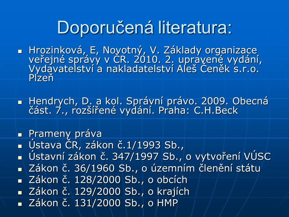 Doporučená literatura: Hrozinková, E, Novotný, V.Základy organizace veřejné správy v ČR.