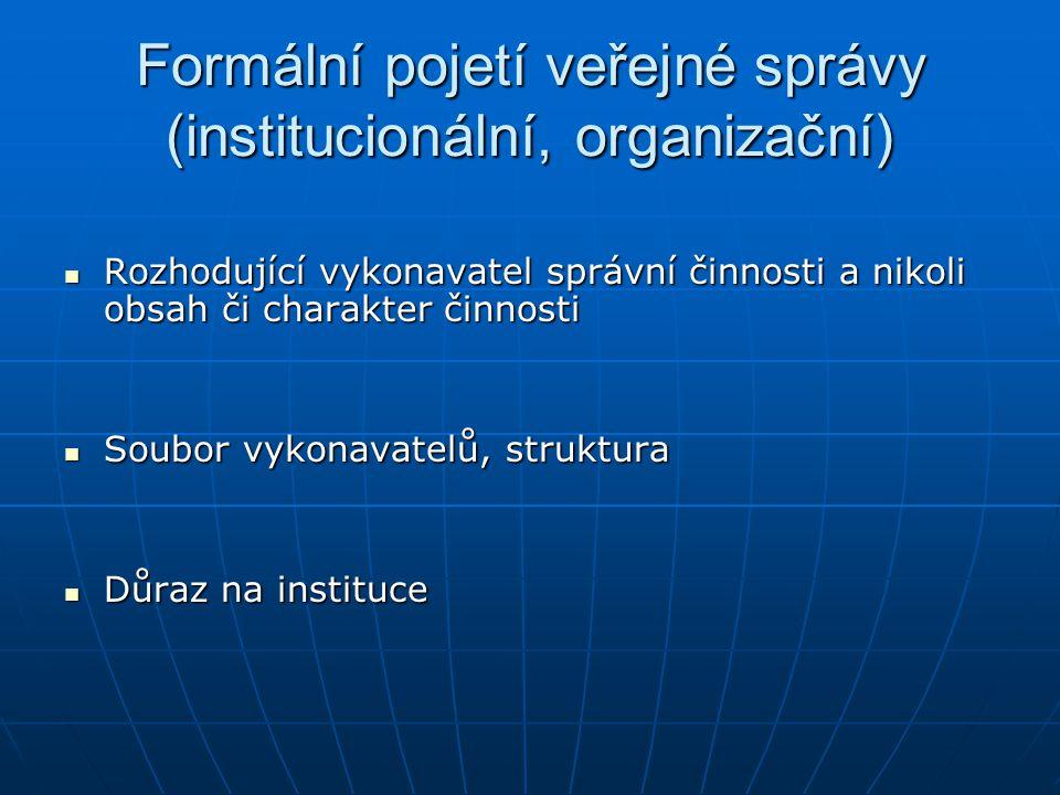 Formální pojetí veřejné správy (institucionální, organizační) Rozhodující vykonavatel správní činnosti a nikoli obsah či charakter činnosti Rozhodujíc