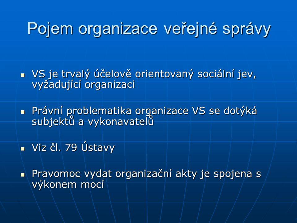 Pojem organizace veřejné správy VS je trvalý účelově orientovaný sociální jev, vyžadující organizaci VS je trvalý účelově orientovaný sociální jev, vy