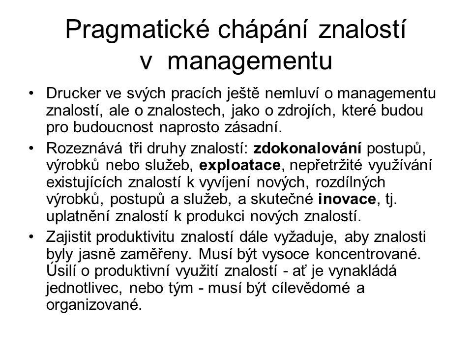 Pragmatické chápání znalostí v managementu Drucker ve svých pracích ještě nemluví o managementu znalostí, ale o znalostech, jako o zdrojích, které budou pro budoucnost naprosto zásadní.