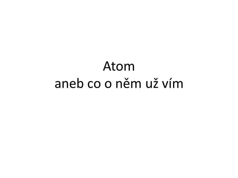 kladný náboj neutron Spojovačka Atomos elektron proton atom záporný náboj nedělitelný bez náboje složen z jádra a obalu základní stavební částice látky jádro nukleus He 4 nukleonové číslo protonové číslo N 7 13 C izotop uhlíku