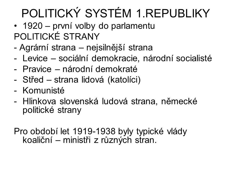POLITICKÝ SYSTÉM 1.REPUBLIKY 1920 – první volby do parlamentu POLITICKÉ STRANY - Agrární strana – nejsilnější strana -Levice – sociální demokracie, ná