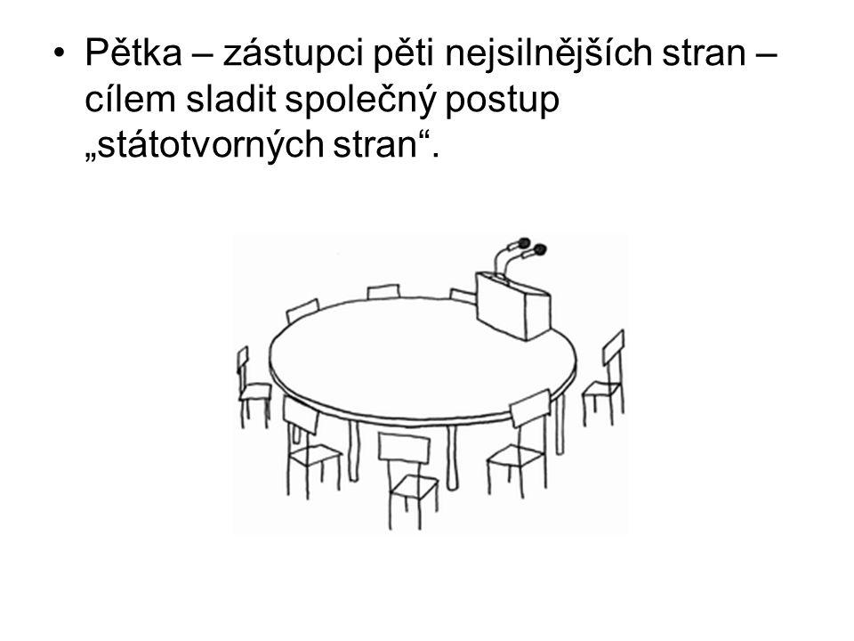 """Pětka – zástupci pěti nejsilnějších stran – cílem sladit společný postup """"státotvorných stran""""."""