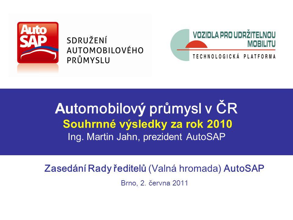 Au tomobilov ý průmysl v ČR Souhrnné výsledky za rok 2010 Ing.
