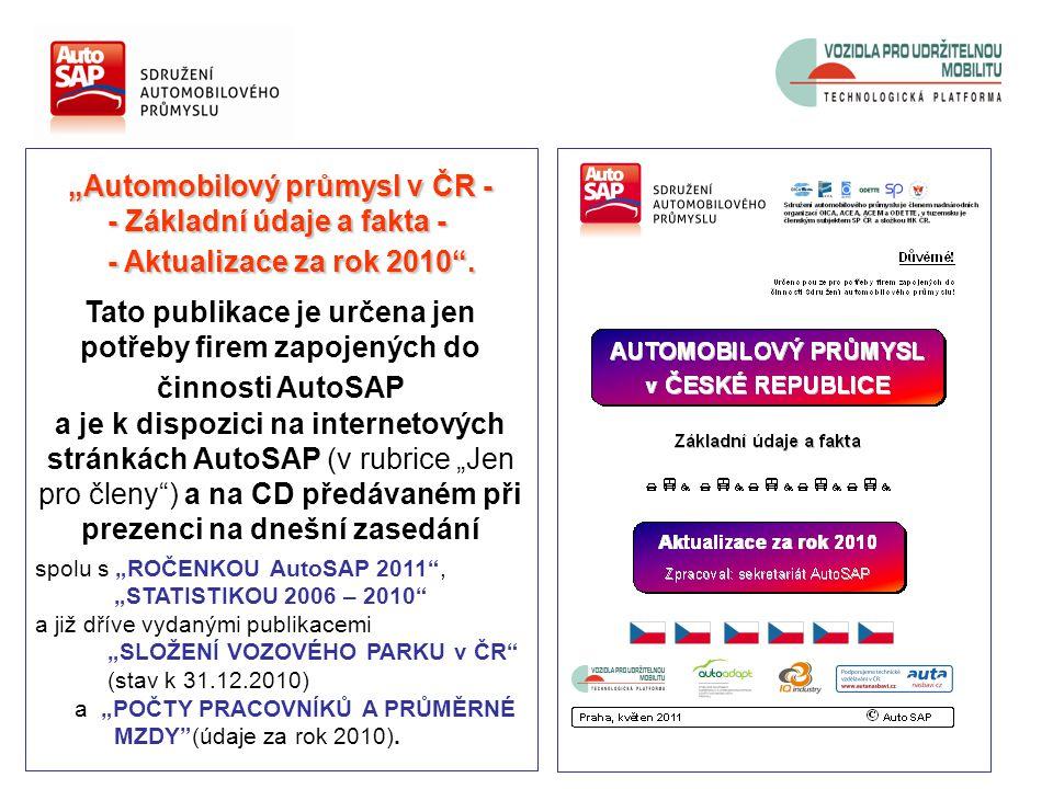"""""""Automobilový průmysl v ČR - - Základní údaje a fakta - - Základní údaje a fakta - - Aktualizace za rok 2010 ."""