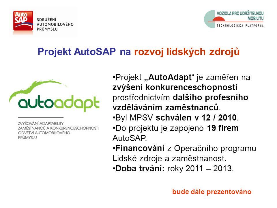 """Projekt AutoSAP na rozvoj lidských zdrojů Projekt """"AutoAdapt je zaměřen na zvýšení konkurenceschopnosti prostřednictvím dalšího profesního vzděláváním zaměstnanců."""