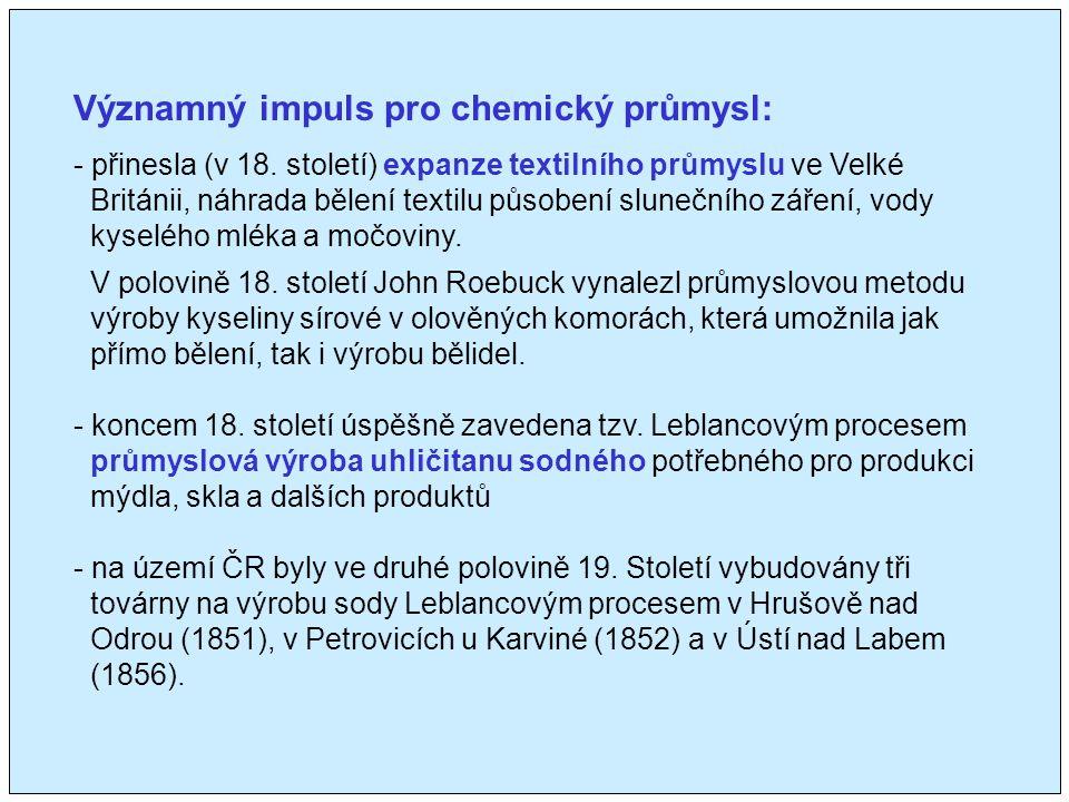 Významný impuls pro chemický průmysl: - přinesla (v 18.