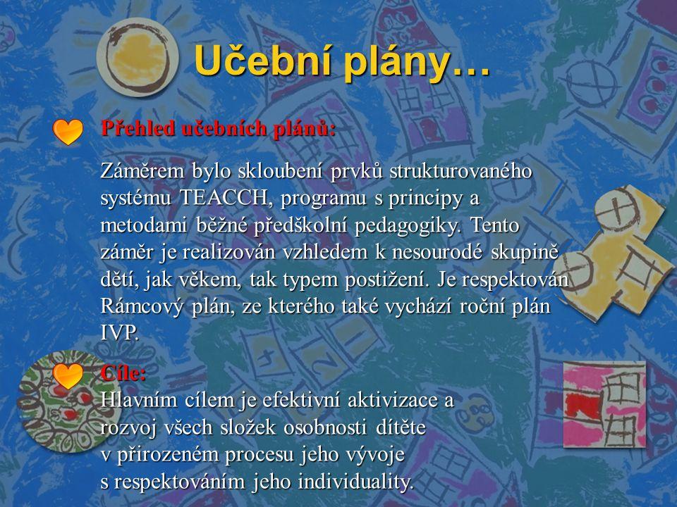 Učební plány… Přehled učebních plánů: Záměrem bylo skloubení prvků strukturovaného systému TEACCH, programu s principy a metodami běžné předškolní pedagogiky.
