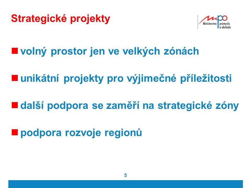 5 Strategické projekty volný prostor jen ve velkých zónách unikátní projekty pro výjimečné příležitosti další podpora se zaměří na strategické zóny podpora rozvoje regionů