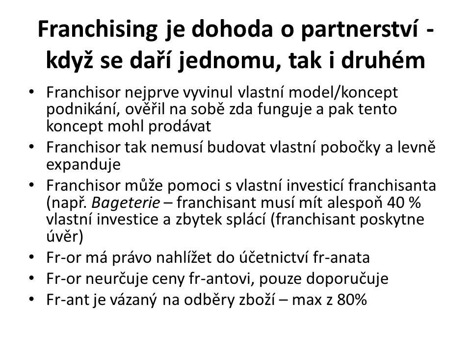 Franchising je dohoda o partnerství - když se daří jednomu, tak i druhém Franchisor nejprve vyvinul vlastní model/koncept podnikání, ověřil na sobě zda funguje a pak tento koncept mohl prodávat Franchisor tak nemusí budovat vlastní pobočky a levně expanduje Franchisor může pomoci s vlastní investicí franchisanta (např.
