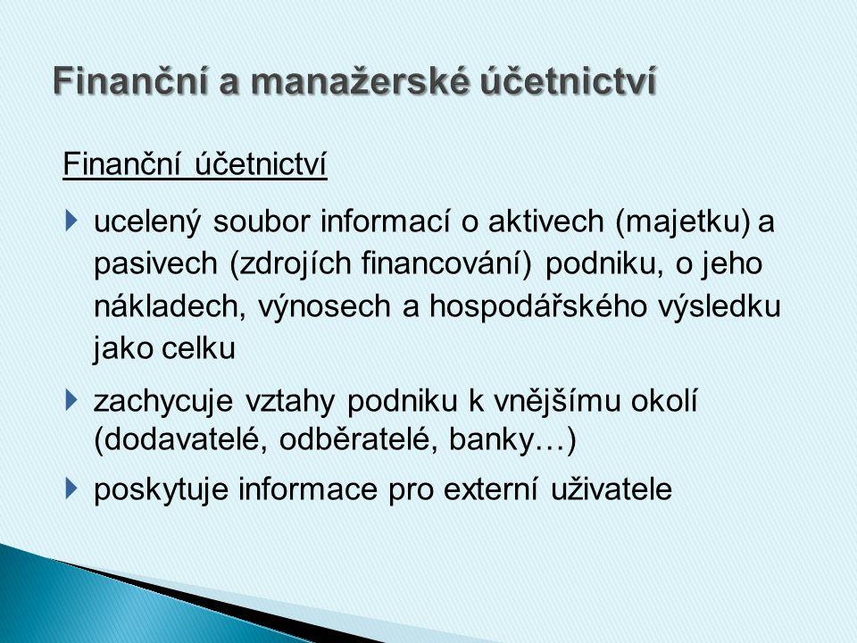 Finanční účetnictví  ucelený soubor informací o aktivech (majetku) a pasivech (zdrojích financování) podniku, o jeho nákladech, výnosech a hospodářského výsledku jako celku  zachycuje vztahy podniku k vnějšímu okolí (dodavatelé, odběratelé, banky…)  poskytuje informace pro externí uživatele