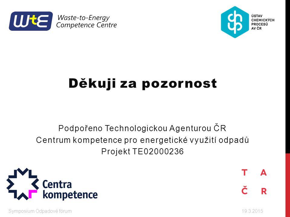Děkuji za pozornost Podpořeno Technologickou Agenturou ČR Centrum kompetence pro energetické využití odpadů Projekt TE02000236 Symposium Odpadové fóru