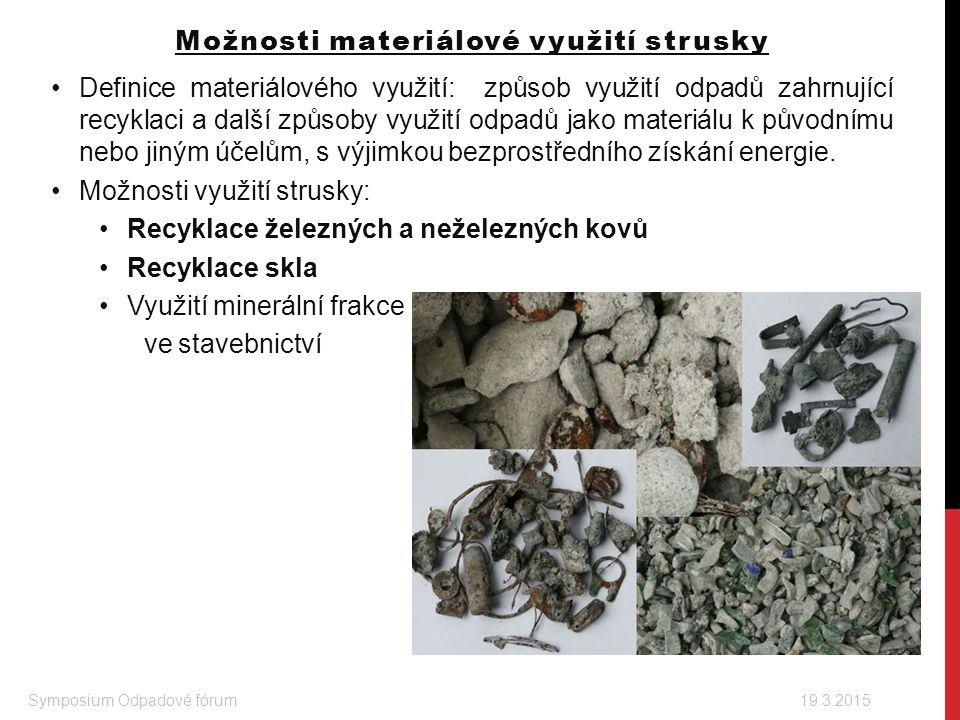 Možnosti materiálové využití strusky Definice materiálového využití: způsob využití odpadů zahrnující recyklaci a další způsoby využití odpadů jako ma
