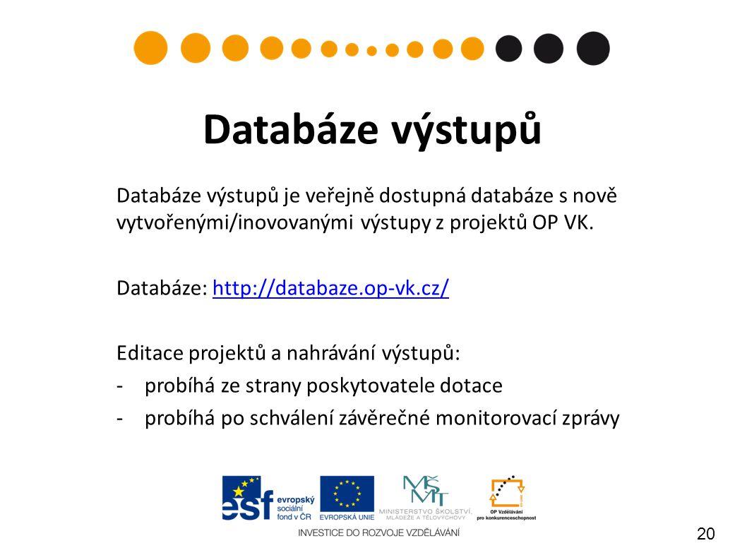 20 Databáze výstupů Databáze výstupů je veřejně dostupná databáze s nově vytvořenými/inovovanými výstupy z projektů OP VK.