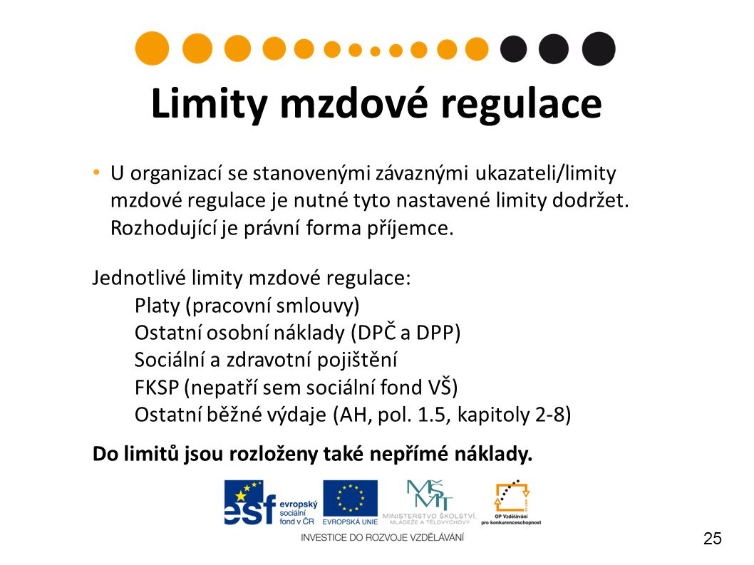 25 U organizací se stanovenými závaznými ukazateli/limity mzdové regulace je nutné tyto nastavené limity dodržet. Rozhodující je právní forma příjemce