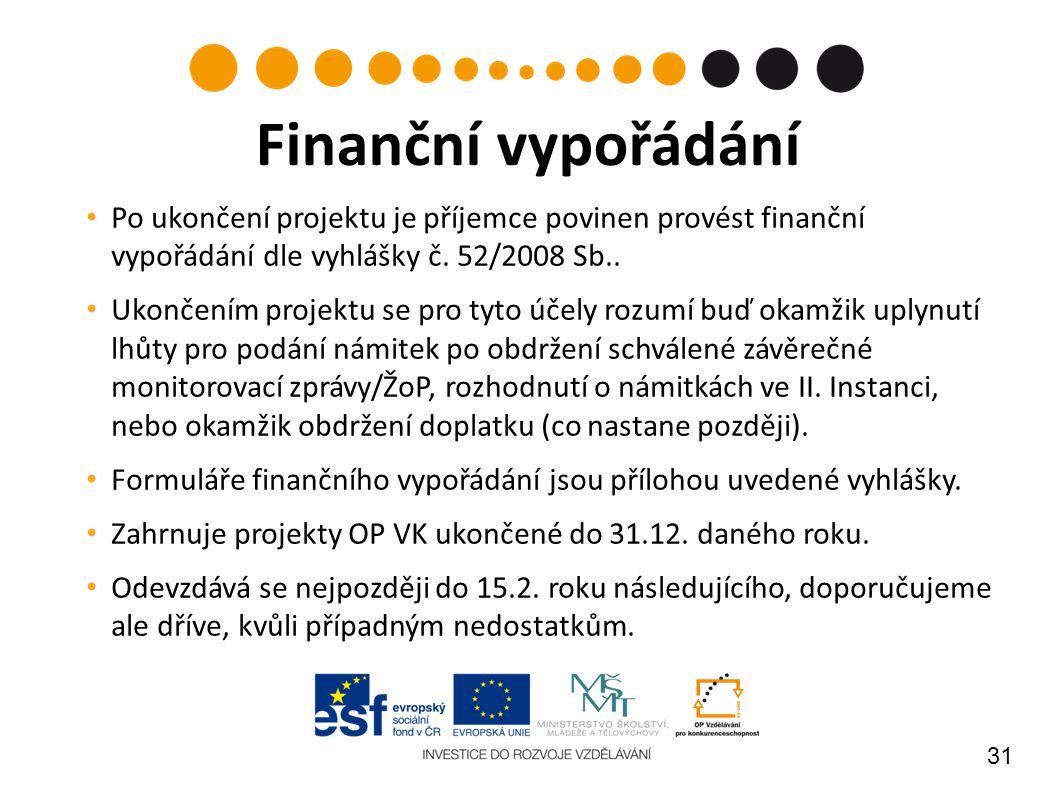 31 Po ukončení projektu je příjemce povinen provést finanční vypořádání dle vyhlášky č. 52/2008 Sb.. Ukončením projektu se pro tyto účely rozumí buď o