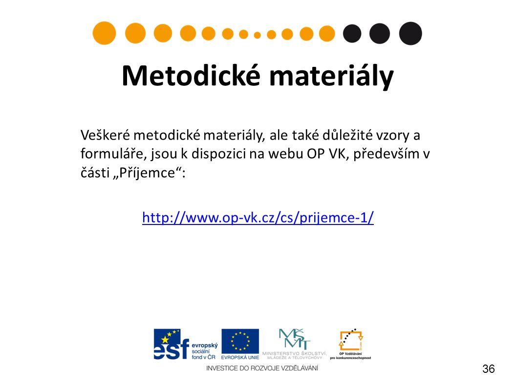 """36 Metodické materiály Veškeré metodické materiály, ale také důležité vzory a formuláře, jsou k dispozici na webu OP VK, především v části """"Příjemce : http://www.op-vk.cz/cs/prijemce-1/"""