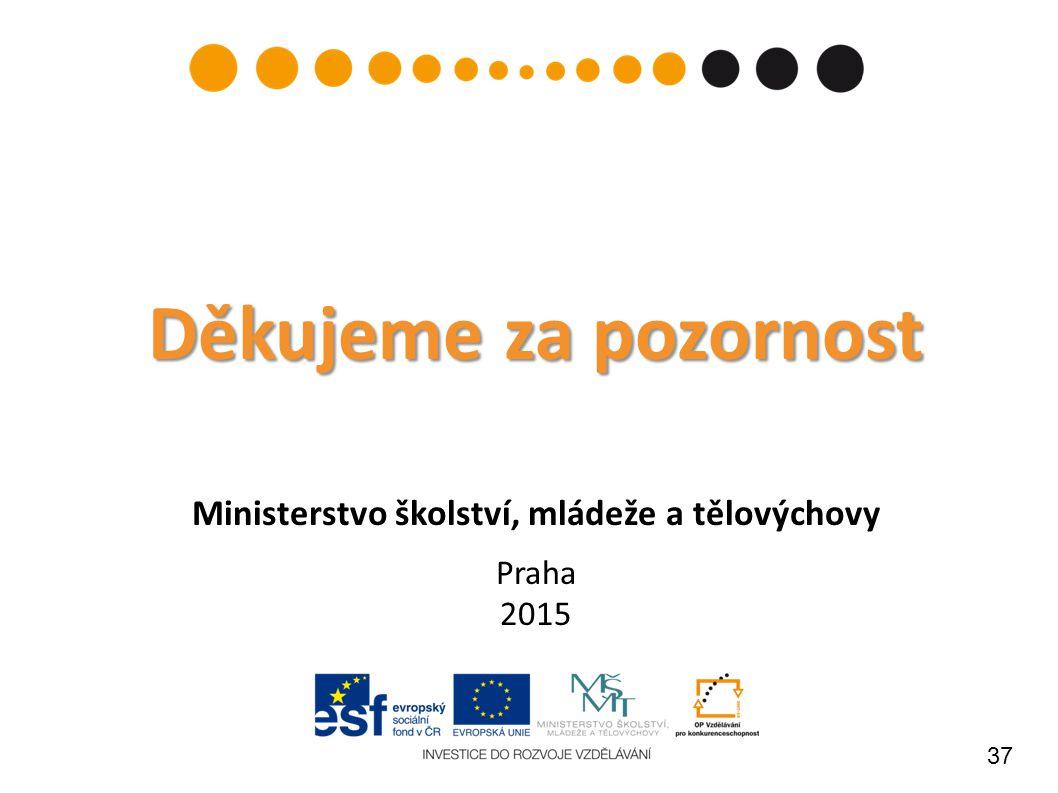 37 Děkujeme za pozornost Děkujeme za pozornost Ministerstvo školství, mládeže a tělovýchovy Praha 2015