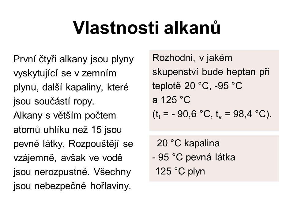 Vlastnosti alkanů První čtyři alkany jsou plyny vyskytující se v zemním plynu, další kapaliny, které jsou součástí ropy. Alkany s větším počtem atomů