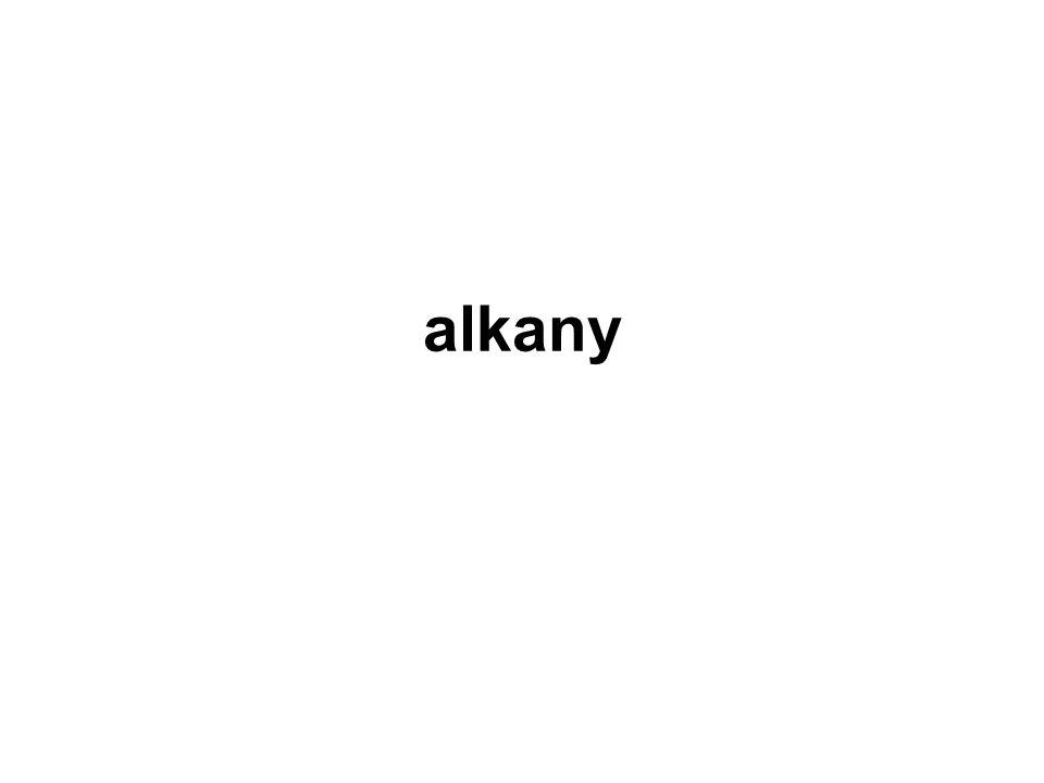Alkany Alkany jsou uhlovodíky obsahující v otevřeném řetězci výhradně jednoduché vazby mezi atomy uhlíku Vyber alkany: CH ≡ CH, CH 3 – CH 2 – CH 3, CH 3 – CH 3, CH 2 = CH 2 CH 3 – CH 2 – CH 3 CH 3 – CH 3