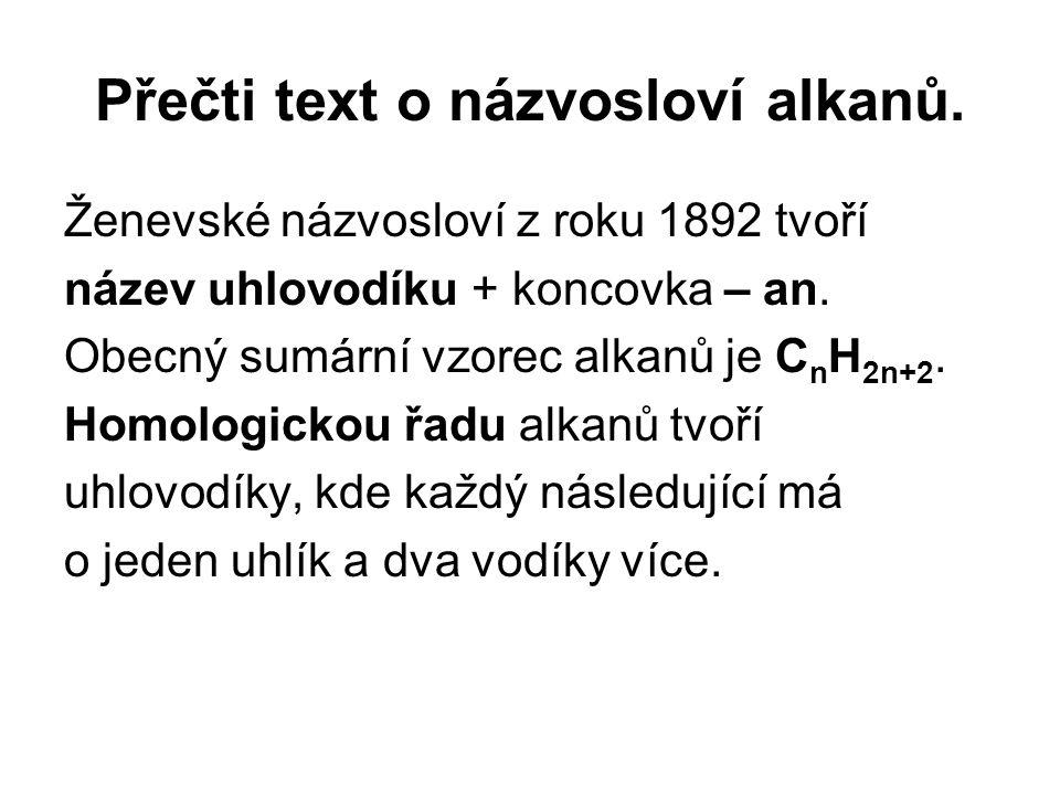 Přečti text o názvosloví alkanů. Ženevské názvosloví z roku 1892 tvoří název uhlovodíku + koncovka – an. Obecný sumární vzorec alkanů je C n H 2n+2. H