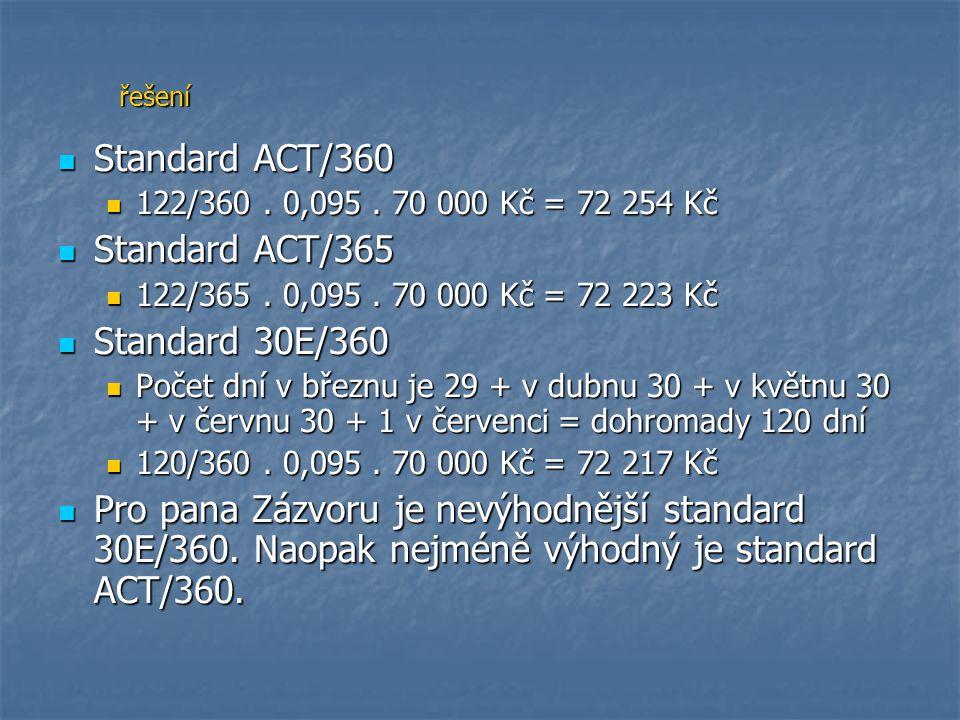 Standard ACT/360 122/360. 0,095. 70 000 Kč = 72 254 Kč Standard ACT/365 122/365. 0,095. 70 000 Kč = 72 223 Kč Standard 30E/360 Počet dní v březnu je 2