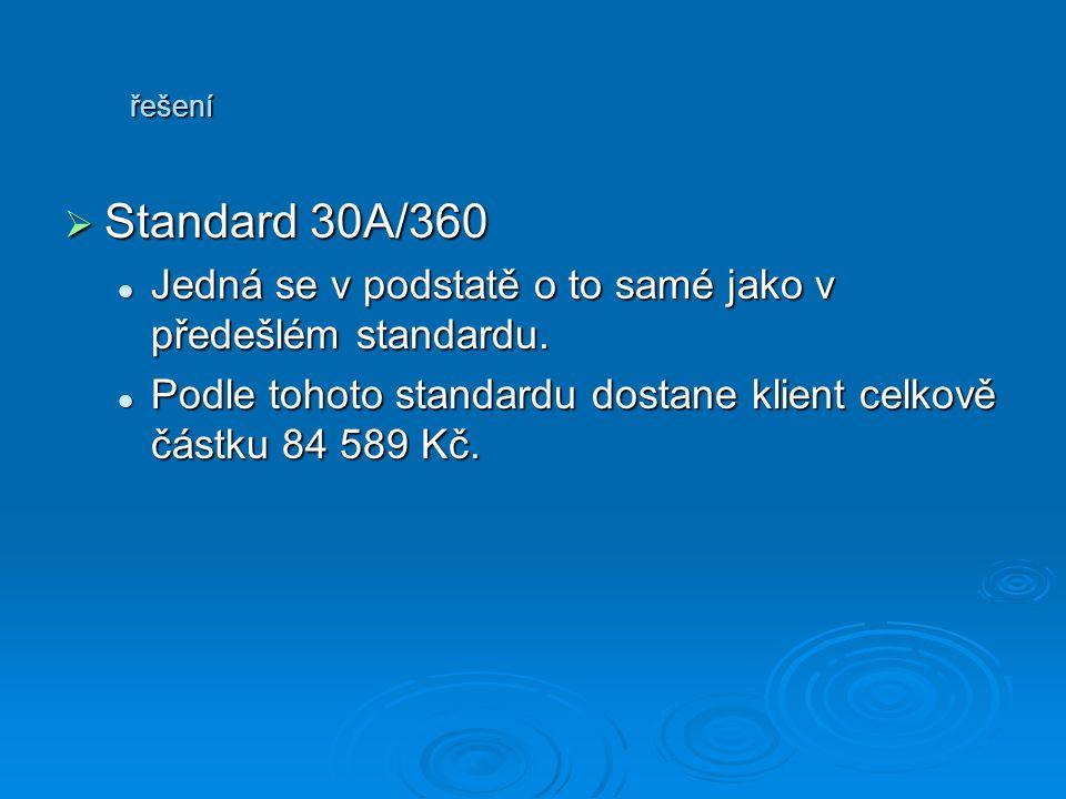 řešení SSSStandard 30A/360 Jedná se v podstatě o to samé jako v předešlém standardu. Podle tohoto standardu dostane klient celkově částku 84 589 K