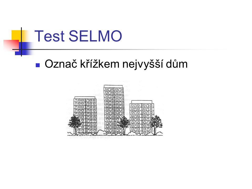 Test SELMO Označ křížkem nejvyšší dům